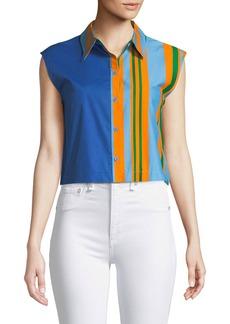 Diane Von Furstenberg Striped Poplin Cropped Beach Shirt