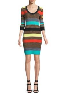 Diane Von Furstenberg Striped Scoop-Neck Ribbed Sweater Dress