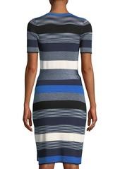 Diane Von Furstenberg Striped Short-Sleeve Sweater Wrap Dress