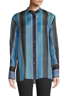 Diane Von Furstenberg Striped Silk Button-Down Shirt