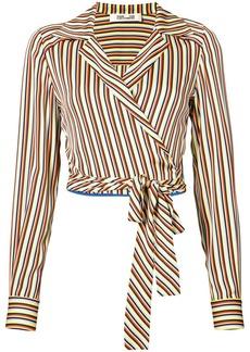 Diane Von Furstenberg striped tie front blouse