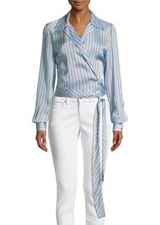 Diane Von Furstenberg Striped V-Neck Wrap Blouse