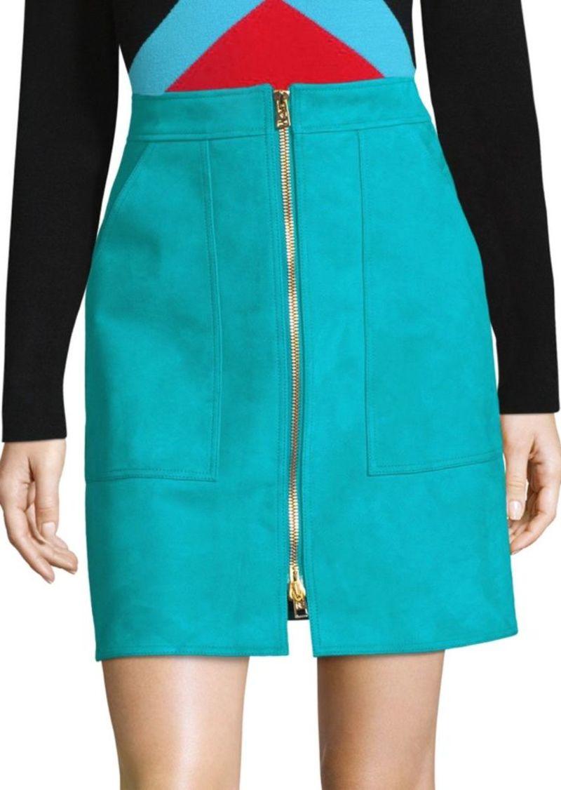Diane Von Furstenberg Suede Patch-Pocket Mini Skirt