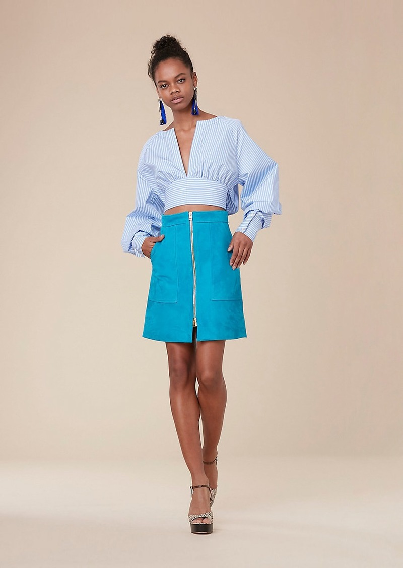 Diane Von Furstenberg Suede Patch Pocket Mini Skirt