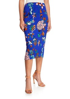 Diane Von Furstenberg Tailored Floral Midi Pencil Skirt
