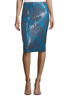 Diane Von Furstenberg Tailored Floral-Print Pencil Skirt