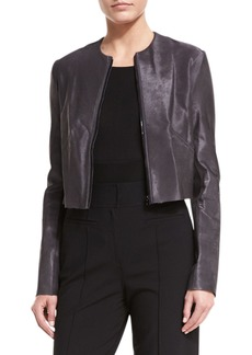 Diane Von Furstenberg Tailored Zip-Front Cropped Leather Jacket
