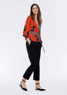Diane Von Furstenberg Tamara Silk Crepe De Chine Wrap Top in Climbing Panther Red