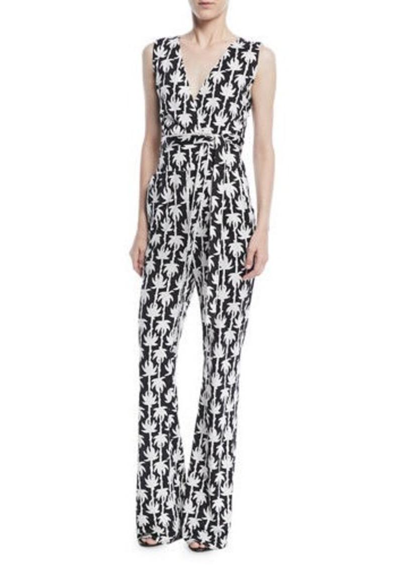 ccea9327b2bc Diane Von Furstenberg Terria Palm-Print Wide-Leg Jumpsuit | Casual Pants
