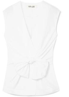 Diane Von Furstenberg Tie-front Cotton-poplin Wrap Blouse