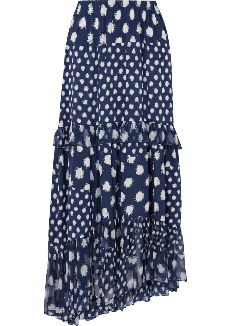 Diane Von Furstenberg Tiered Ruffled Printed Silk-chiffon Maxi Skirt