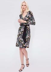 Diane Von Furstenberg Tiffany Silk-Jersey Wrap Dress in Bali Flower Black
