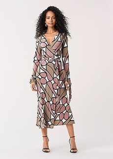 Diane Von Furstenberg Tilly Silk Crepe de Chine Midi Wrap Dress