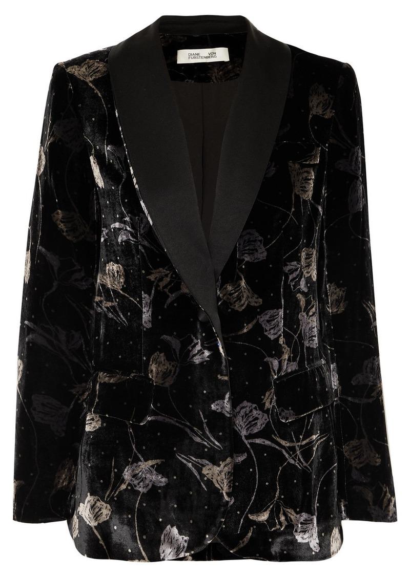 Diane Von Furstenberg Tommy Satin-trimmed Metallic Floral-print Velvet Blazer