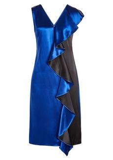 Diane Von Furstenberg Two-Tone Satin Dress with Ruffled Trim