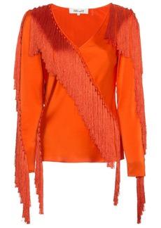 Diane Von Furstenberg V-neck fringed blouse