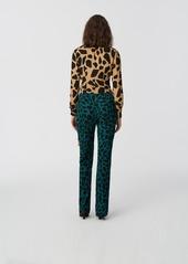 Diane Von Furstenberg Vera Crepe de Chine Wrap Top in Giraffe