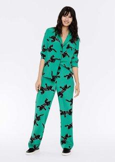 Diane Von Furstenberg Veronica Silk Crepe De Chine Pajama Pants in Climbing Panther Green