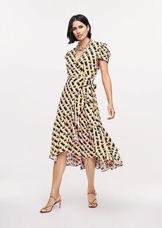 Diane Von Furstenberg Vienna Linen Midi Wrap Dress