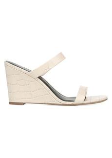 Diane Von Furstenberg Vivienne Croc-Embossed Leather Wedge Mules