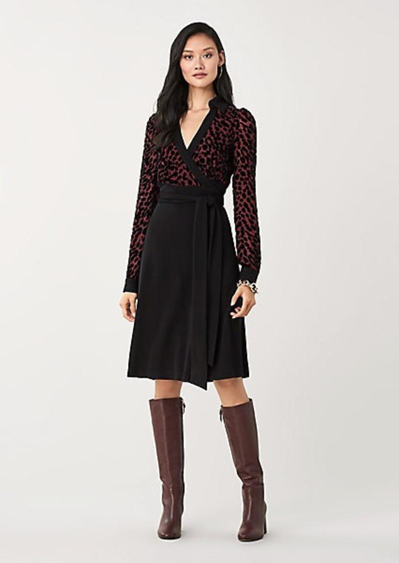 Diane Von Furstenberg Wendy Velvet Burnout Wrap Dress