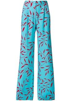 Diane Von Furstenberg wide leaf-print trousers