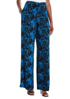 Diane Von Furstenberg Wide-Leg Floral Crepe Pants