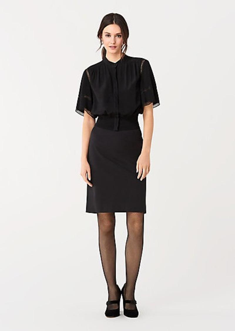 Diane Von Furstenberg Winifred Silk Crepe de Chine Lace Top