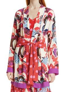 Diane Von Furstenberg Women's Dvf April Floral Mix Print Tie Waist Jacket