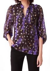 Diane Von Furstenberg Women's Dvf Syrah Dot Silk Blend Popover Blouse