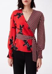 Diane Von Furstenberg Women's Dvf Tamara Silk Crepe De Chine Wrap Top