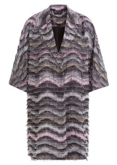Diane Von Furstenberg Woven Coat with Fringe