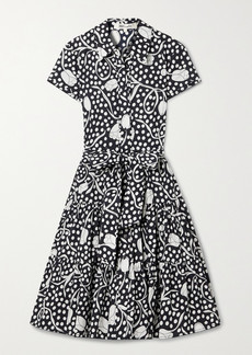 Diane Von Furstenberg Zaria Belted Tiered Printed Cotton-poplin Shirt Dress