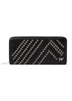 Zip Around Leather Eyelet Continental Wallet