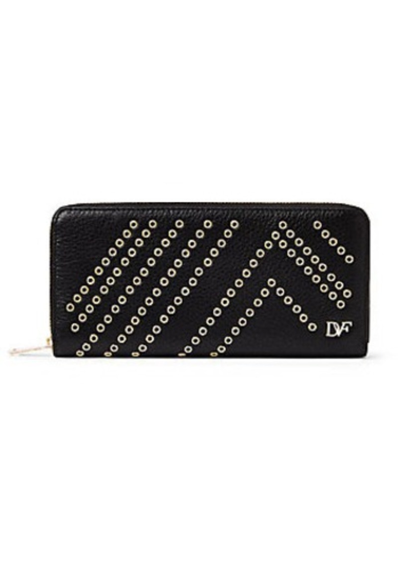 Diane Von Furstenberg Zip Around Leather Eyelet Continental Wallet