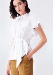 Diane Von Furstenberg Zoe Pleated Cotton Belted Blouse in Ivory