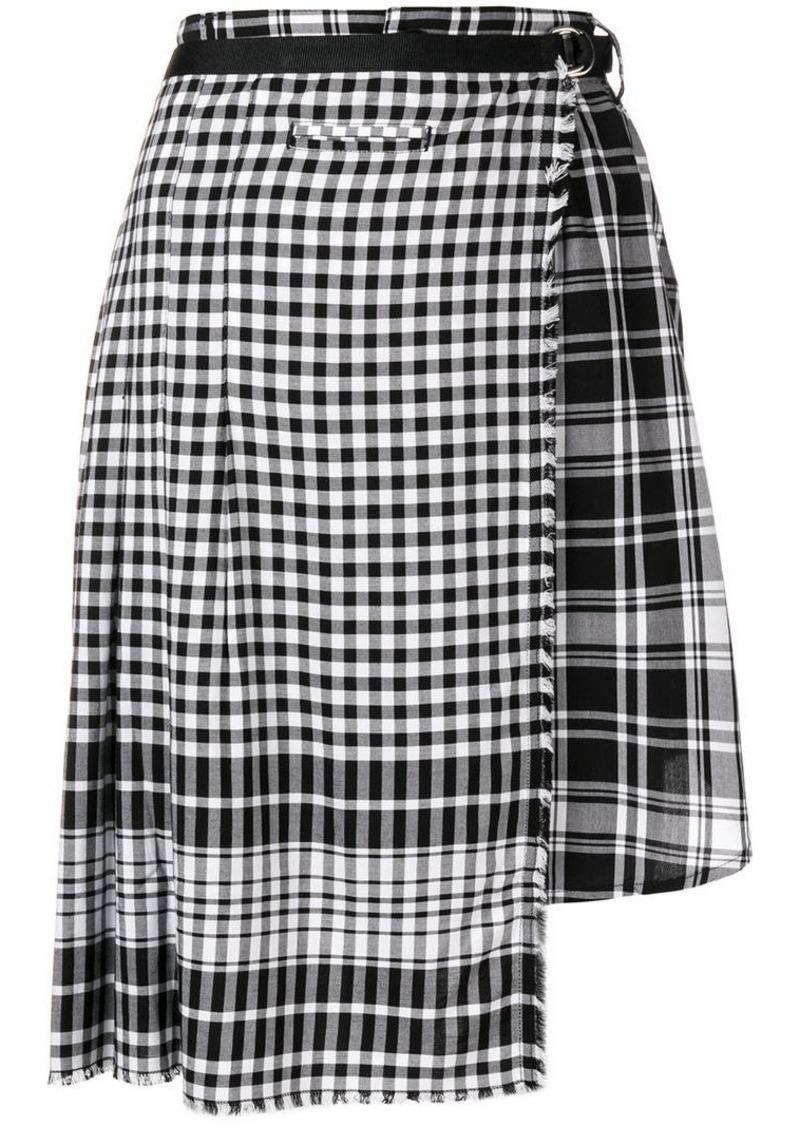 Diesel asymmetric checked skirt