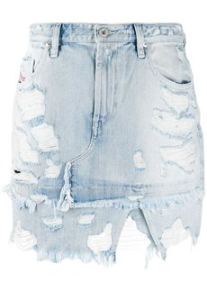 Diesel asymmetric distressed denim skirt