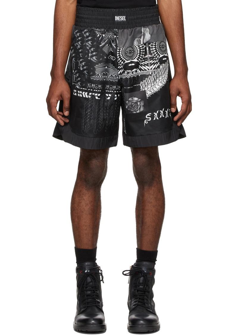 Diesel Black & White P-Kumi-Print-A Shorts