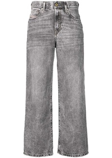 Diesel bleach washed wide jeans