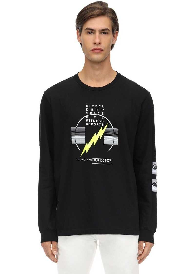 Diesel Bolt Print L/s Cotton Jersey T-shirt
