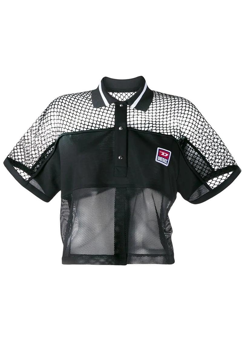 Diesel boxy mesh insert polo shirt