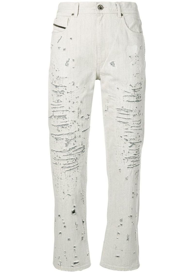 Diesel boyfriend jeans with lasered treatment