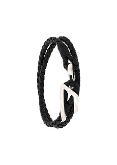Diesel braided logo plaque bracelet