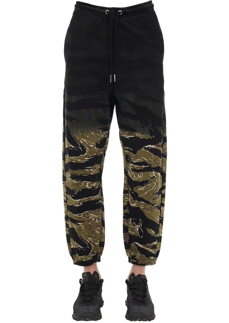 Diesel Camo Printed Cotton Jersey Sweatpants