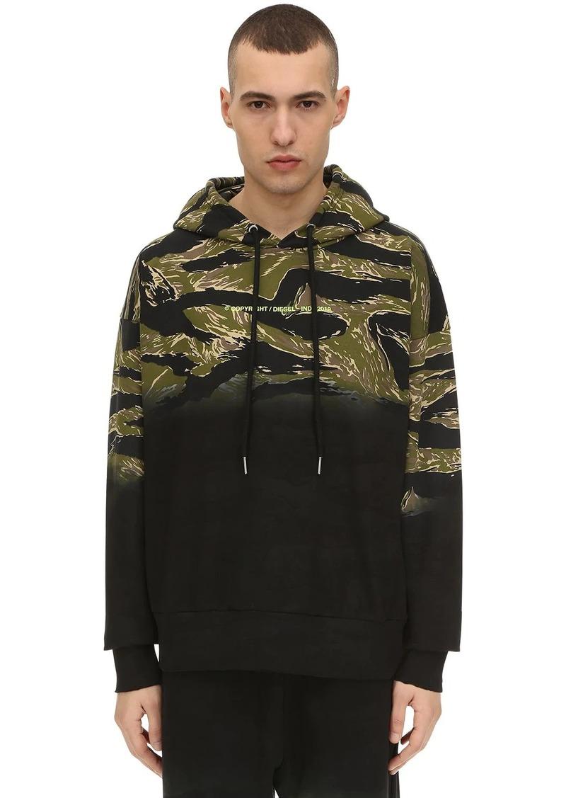 Diesel Camo Printed Cotton Sweatshirt Hoodie