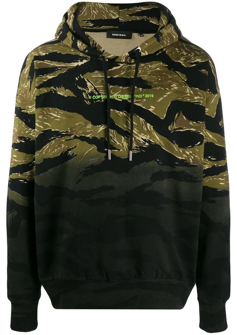 Diesel camouflage tie-dye print hoodie