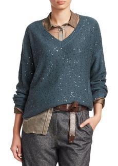 Diesel Cashmere & Silk V-Neck Boyfriend Sweater