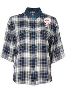 Diesel check flower appliqué shirt