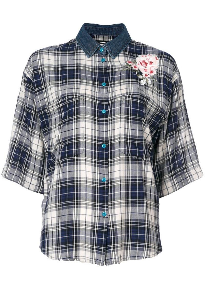 Diesel check flower appliqué shirt